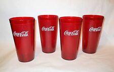 4 Red Plastic Coca-Cola Glasses Restaurant Cups Tumbler Coke
