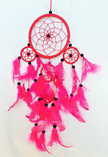 Dreamcatcher, Vibrant Pink with black beads, perfect for a calming nights sleep