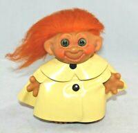 Vintage Thomas Dam Troll Doll Bank Orange Hair and Wearing a Raincoat