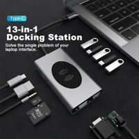 13 in 1 Type C Laptop Docking Station USB 3.0 HDMI VGA PD USB Hub for Notebook*
