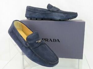 PRADA 2DD165 NAVY SUEDE LOGO DRIVING MOCCASINS PENNY LOAFERS 9 / US 10 ITALY