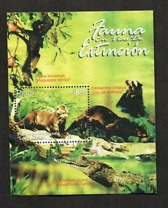 Peru #1328, monkey, bear, crocodile, endangered species souvenir sheet.