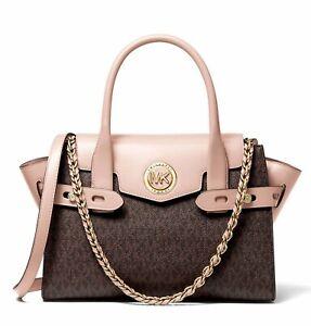 Michael Kors Bag Handbag Carmen Sm Flap Satchel Bag Braun / Soft Pink New
