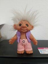 "Vintage Dam Troll Doll 1979 6"" Gray Hair Felt Vest & Pants B550000"