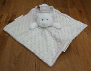 Blankets & Beyond Baby Boy Security Blanket ~ Light Beige & White ~ Bear ~