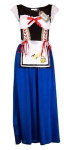 Oktoberfest Beer Maid Costume Women's Fancy Dress Blue Long UK Size 8
