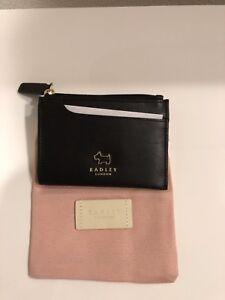 Radley Leather Card Wallet w/ Gold Toned Dog Detail - Black