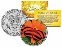 BANDED ORANGE BUTTERFLY JFK Kennedy Half Dollar US Colorized Coin