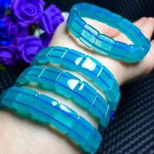 Natural Blue amazonite Translucent Bracelet Bangle AAAA