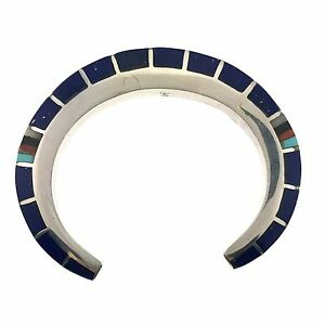 TCA Sterling Silver Lapis Turquoise Spiny Oyster Inlay Bracelet Cuff