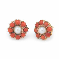 Coral Pearl Round Stud Earrings Vintage 14k Yellow Gold Estate Fine Jewelry