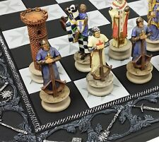 Medieval Times King Richard Painted Christian Knights Chess Set 17 Maltese Board