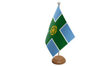 Derbyshire Small Table Flag with Wooden Stand