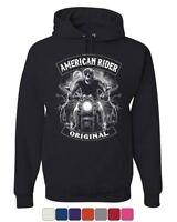 Original American Rider Hoodie Skull Face Route 66 Biker MC Sweatshirt