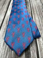 Lauren Ralph Lauren Skinny Slim 100% Silk Lobster Tie Blue & Red/Pink Necktie