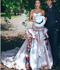 Sweetheart Flowers Train Quinceanera Dress Formal Prom Party Pageant Gown Shoot