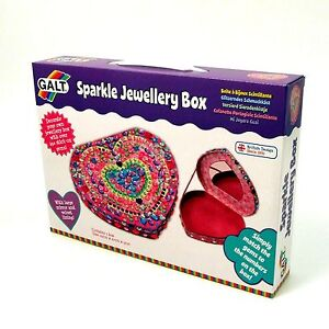 Heart Shape Jewellery Box with Mirror to Decorate Velvety Lining Galt Age 6+