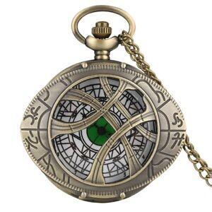 Classic Vintage Quartz Pocket Watch Chain Marvel Singular Dr. Gifts Half Hunter