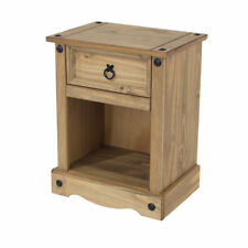 Premium Corona Mexican Pine 1 Drawer Waxed Solid Wood Bedside Table Cabinet