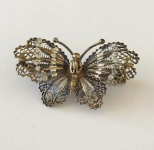 OLD Antique Vintage Art Deco Sterling Silver Filigree Butterfly Brooch Trombone
