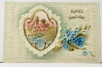 Heartiest Congratulations Beautiful Heavy Embossed Scenic & Flowers Postcard I16