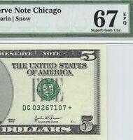 2003 $5 CHICAGO * STAR * 🌟 FRN, PMG SUPERB GEM UNCIRCULATED 67 EPQ BANKNOTE