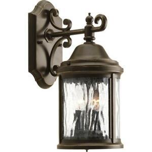Progress Lighting Wall Lantern Sconce Water Glass Antique Bronze Finish 2-Light