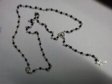 1 COLLANA ROSARIO  RELIGIOSO cristalli neri RELIGIOUS ROSARY NECKLACE crystal