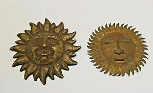 Vintage Metal Sun Discs Hanging Ornaments x2, With Faces, Unknown Metal - VGC