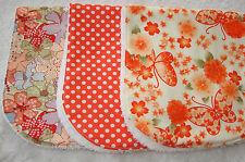Set of 3 Burp Cloths Orange & White Butterflies Flowers & Dots Handmade