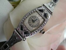 1930 Ladies Art Deco Sapphire Bulova Watch ~Miss America~Sapphire Filigree Band