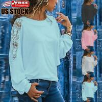 Womens Hollow Out Long Sleeve T-Shirt Tops Ladies Casual Round Neck Blouse Shirt