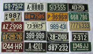 TWENTY (20) DIFFERENT 1954 Wheaties Cereal Premium License Plates