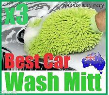 3x MICROFIBRE CAR HOME WASH CLEANING MITT GLOVE CLOTH DUSTER RRP$9.90 each