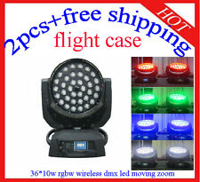 36*10W Led Moving Head Zoom 4 in 1 Wireless DMX Flight Case 2pcs Free Shipping