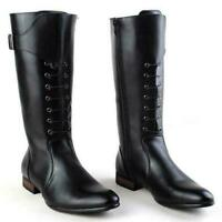 Military Men's Leather Black knight knee High Boots Riding Casual Shoes Punk New