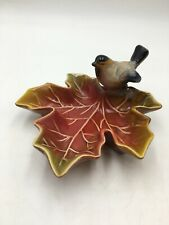 """Creative Co-Op Microwave Safe Stoneware Leaf Dish w/Bird 5"""" Jewelry Dips Nuts"""