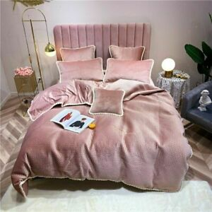 4pcs Solid Color Velvet Bedding Set Duvet Cover Sheet Pillowcase Pink Bed Linen