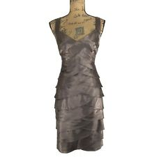 NEW London Times 12 Large Dress Satin Tier Scallop Caffe Taupe Wedding Party NWT