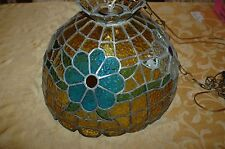 Vintage Leaded Stained Glass Hanging Light Shade Amber,Blue,Green,Orange,Clear