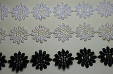 Guipure Daisy Lace Trim Applique  25mm White Cream or Black  Choose of Lengths