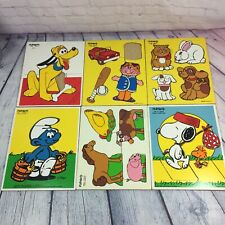 6 Vintage Playskool Wooden Tray Puzzles Smurf Snoopy My Pets Pluto Farm Animals