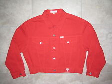 VINTAGE GUESS Georges Marciano USA Red Denim Jean Short Jacket USED XL A$AP