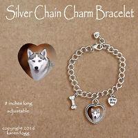 SIBERIAN HUSKY DOG Silver -  CHARM BRACELET SILVER CHAIN & HEART