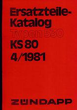 Zündapp KS 80 KS 80 Touring Typ 530 Ersatzteil Liste Teile Katalog Buch Neu