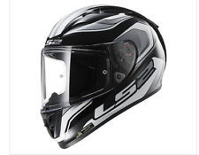 LS2 Arrow Geo SportBike Full-Face Black White Helmet Tri-Composite DOT ECE LARGE