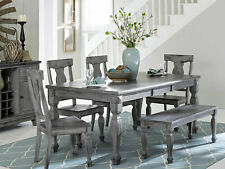 NEW Cottage Gray Finish Dining Room 6pcs Rectangular Table Bench Chairs Set IC48