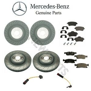 For Mercedes W166 ML350 Front & Rear Brake Disc Rotors Pads Sensors Genuine