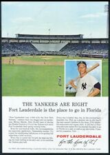 1963 Mickey Mantle photo Yankees Spring training photo Fort Lauderdale print ad