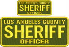 LOS ANGELES COUNTY SHERIFF OFFICER EMB PATCH 4X10 AND 2X5 HOOK ON BACK OD/GOLD